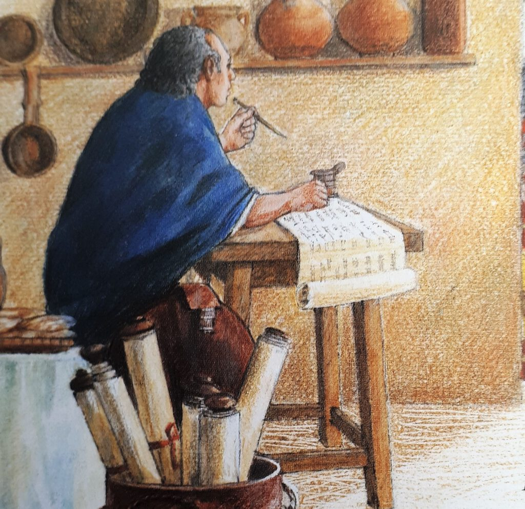 Historischer Schreiber am Schreibtisch